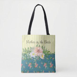 Bolsa Tote Flores e listras