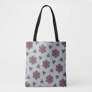 Bolsa Tote Flores elegantes e folhas e videiras delicadas