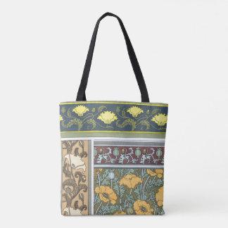 Bolsa Tote Flores florais da papoila de Nouveau da arte do