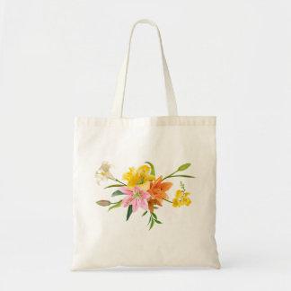 Bolsa Tote Flores florais do lírio - cor-de-rosa, branco