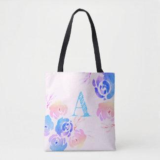 Bolsa Tote Flores & folha roxas & cor-de-rosa da aguarela