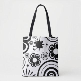 Bolsa Tote Flores lunáticas pretas & brancas, círculos,