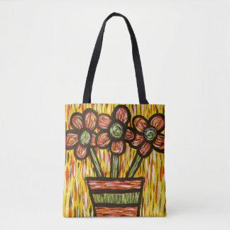 Bolsa Tote Flores modernas abstratas lunáticas no vaso
