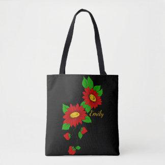 Bolsa Tote Flores & morangos vermelhas personalizadas no