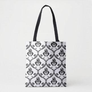 Bolsa Tote Flores preto e branco florais do damasco