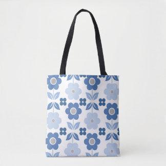 Bolsa Tote Flores retros azuis & polca toda sobre - imprima a