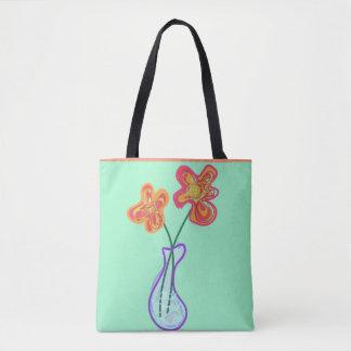 Bolsa Tote Flores retros do squiggle em um vaso