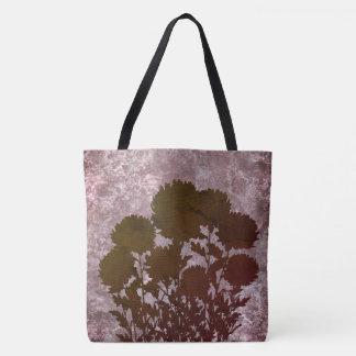 Bolsa Tote Flores românticas roxas da mãe na silhueta