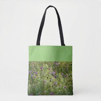 Bolsa Tote Flores selvagens roxas em um prado verde