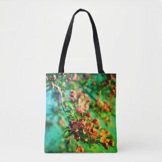 Bolsa Tote Flores - verde do primavera