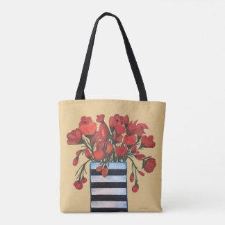 Bolsa Tote Flores vermelhas com belas artes listradas do vaso