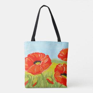Bolsa Tote Flores vermelhas da papoila da aguarela