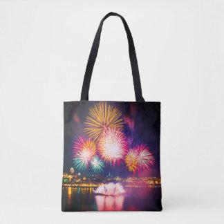 Bolsa Tote Fogos-de-artifício explosivos coloridos