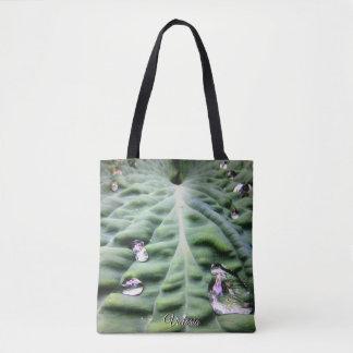 Bolsa Tote Folha tropical verde com gotas de água