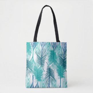 Bolsa Tote Folhas de palma tropicais azuis e verdes.