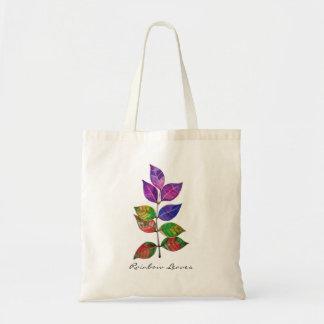 Bolsa Tote Folhas do arco-íris da aguarela
