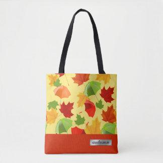 Bolsa Tote Folhas e guarda-chuvas de outono