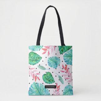 Bolsa Tote Folhas tropicais da aguarela com bolinhas pretas