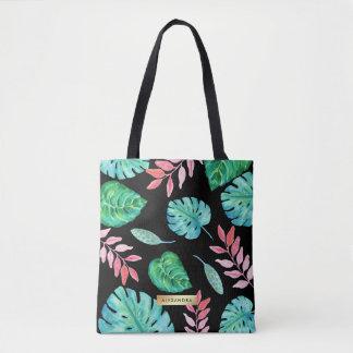 Bolsa Tote Folhas tropicais da aguarela no preto com nome