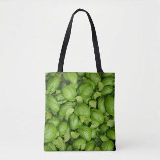 Bolsa Tote Folhas verdes da manjericão