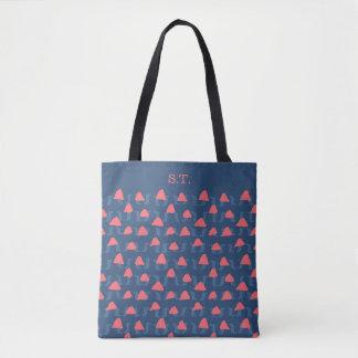 Bolsa Tote Formas abstratas em salmon e no azul para um