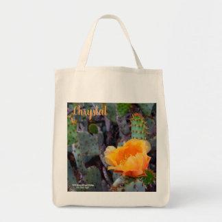 Bolsa Tote Foto alaranjada da flor do cacto de pera espinhosa