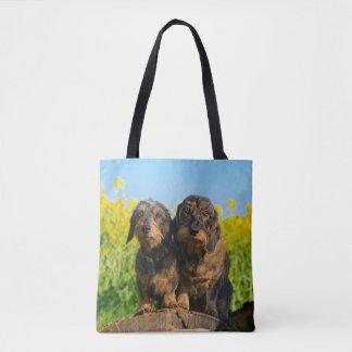 Bolsa Tote Foto bonito do animal de estimação de dois amigos