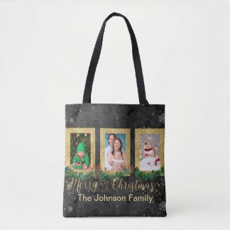 Bolsa Tote Foto do Feliz Natal do ouro