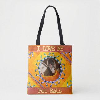 Bolsa Tote Foto feita sob encomenda do rato eu amo meus ratos