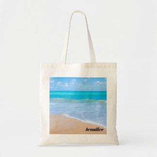 Bolsa Tote Foto tropical da cena da praia surpreendente