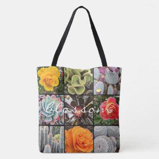 Bolsa Tote Foto vívida do fim-acima dos cactos & dos rosas