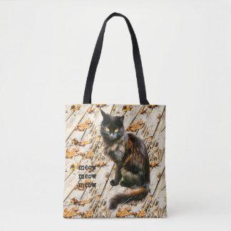 Bolsa Tote Fotografia do animal de estimação do gato preto do