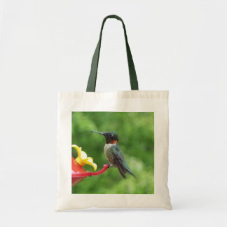 Bolsa Tote Fotografia Rubi-Throated do pássaro do colibri
