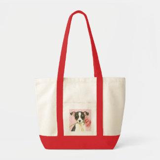 Bolsa Tote Fox cor-de-rosa Terrier do brinquedo dos namorados