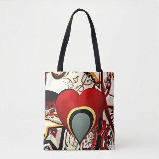 Bolsa Tote fractal abstrato do coração do design