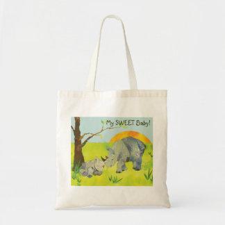 Bolsa Tote Fralda doce do bebê dos Rhinos