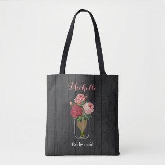 Bolsa Tote Frasco de pedreiro cor-de-rosa bonito - noiva da