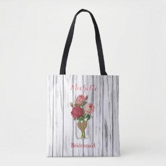 Bolsa Tote Frasco de pedreiro cor-de-rosa do na moda - noiva