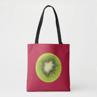 Bolsa Tote Fruta de quivi fresca. Close up redondo da fatia