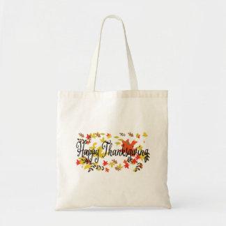 Bolsa Tote Fundo feliz da acção de graças com outono colorido