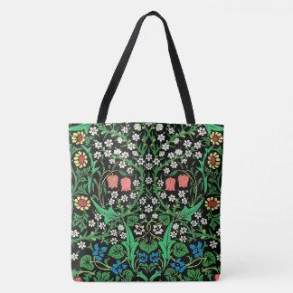 Bolsa Tote Fundo floral de William Morris, preto Jacobean