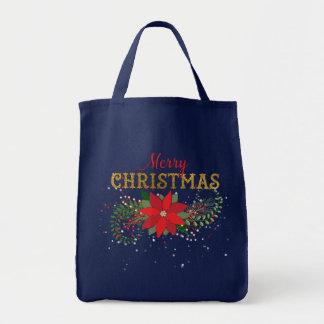 Bolsa Tote Fuzileiro naval azul inglês do Feliz Natal
