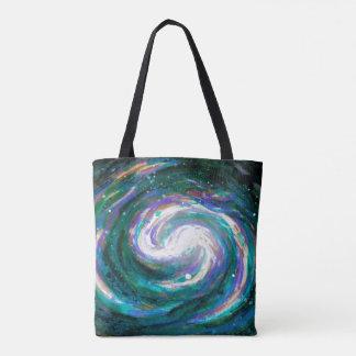 Bolsa Tote Galáxia esmeralda e roxa