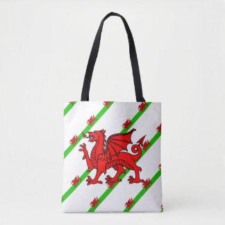 Bolsa Tote Galês listra a bandeira