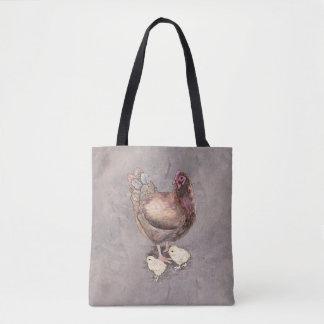 Bolsa Tote Galinha da mãe e aguarela dos pintinhos