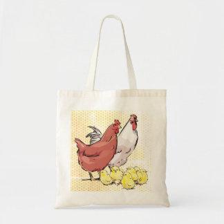 Bolsa Tote Galinha e galo com galinhas