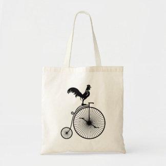 Bolsa Tote Galo que senta-se na bicicleta do vintage