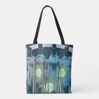 Bolsa Tote Garrafas de vinho artísticas chiques azuis Funky