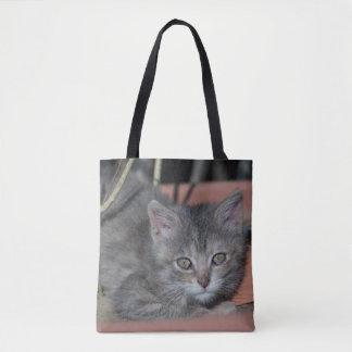 Bolsa Tote gatinho bonito cinzento
