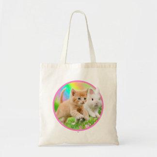 Bolsa Tote Gatinho & coelho com arco-íris